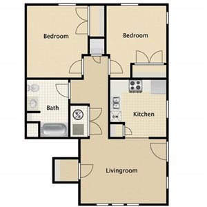 2 Bed 1 Bath Apartment