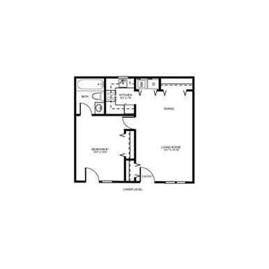 PG I-Cozy 1br 1ba Floor Plan 1