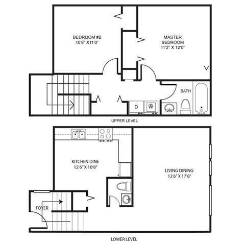 PG I- 2br 1.5ba Townhouse A Floor Plan 2