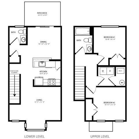 PGII- 2br 1.5ba Townhouse B Floor Plan 6