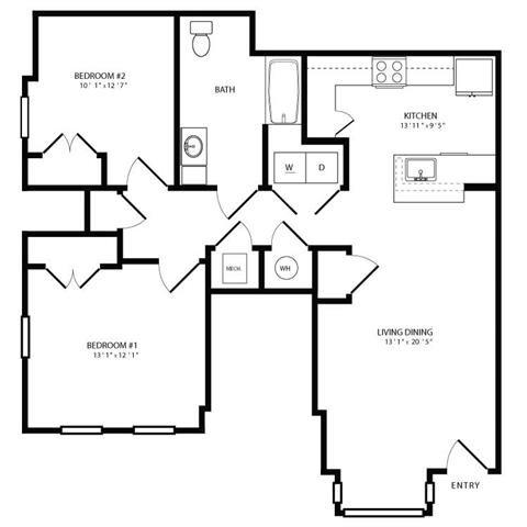 PG II - 2br 1ba Flat A Floor Plan 4