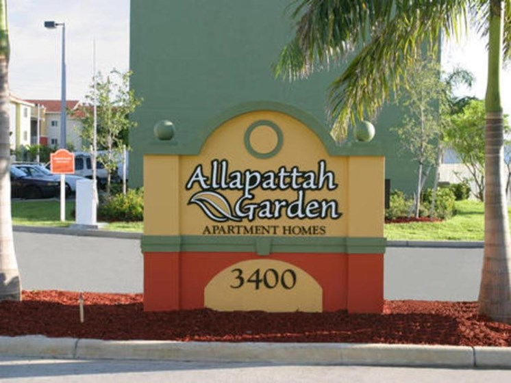 Exterior Monument Sign with apartment complext name on it _Allapattah Gardens Miami, FL