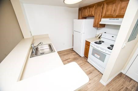 high angle of kitchen in the model apartment_Westview Gardens Apartments Miami, Florida