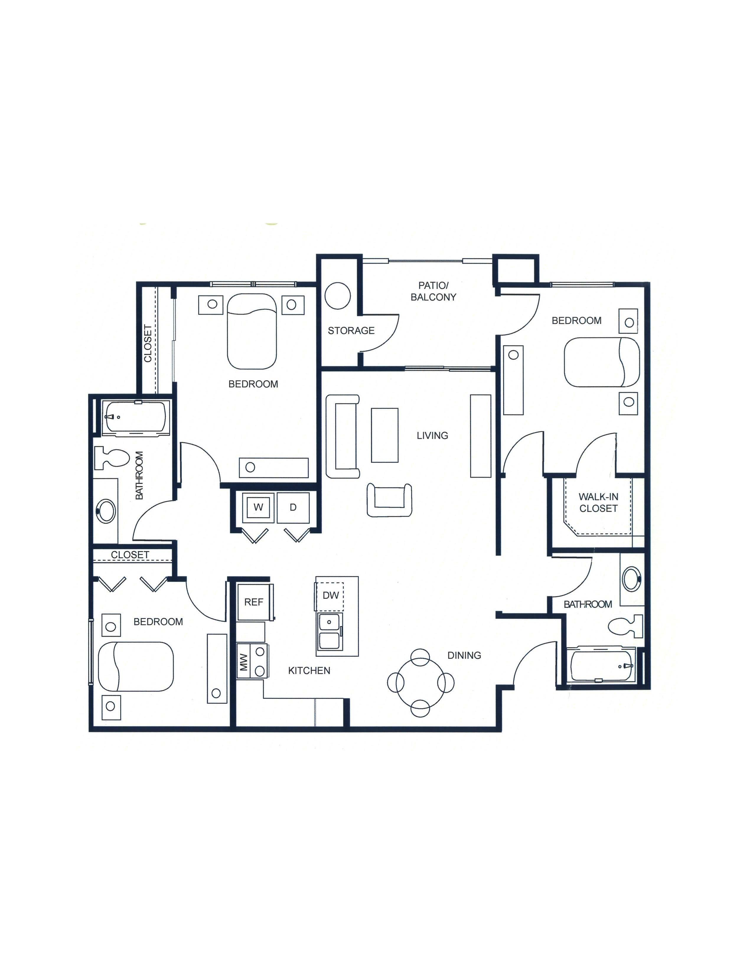 The Capitol - 3 Bedroom/2 Bath Floor Plan 5