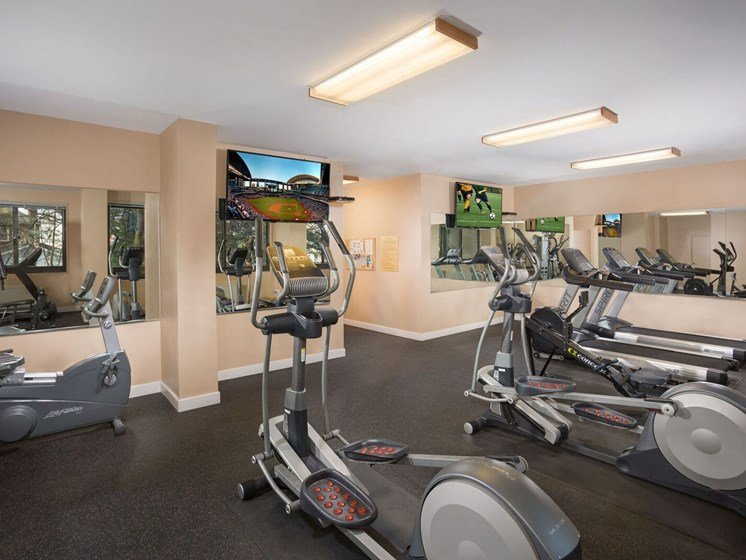 fitness center at Cole Spring Plaza apartments in Silver Spring MD with exercise bikes and other equipment