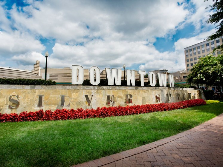 welcome sign for Downtown Silver Spring, Maryland