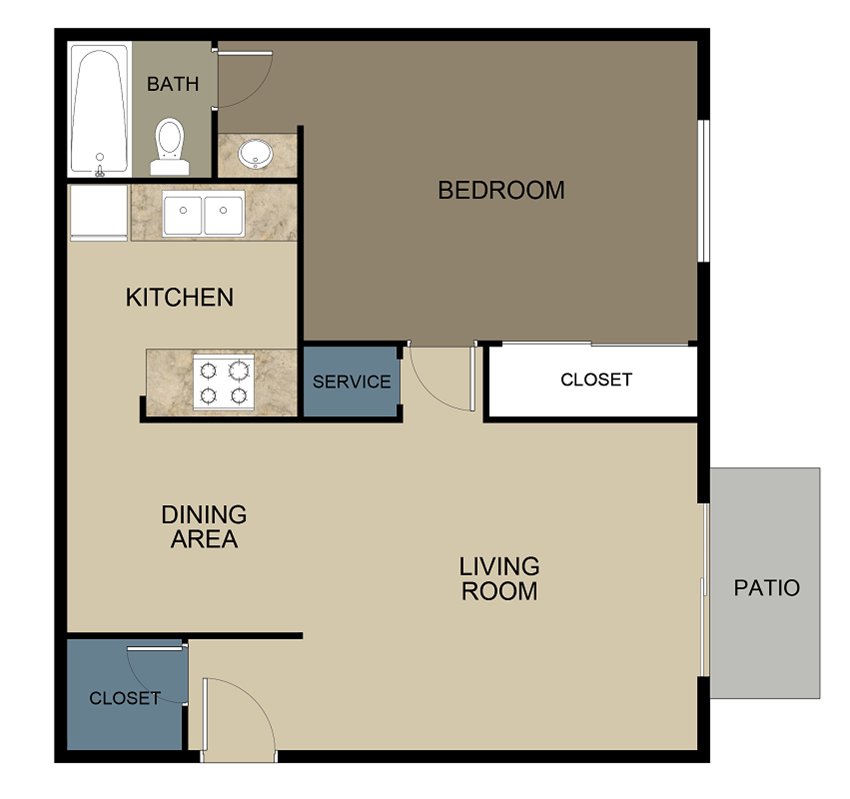 Mimosa Place Apartments One Bedroom Floor Plan