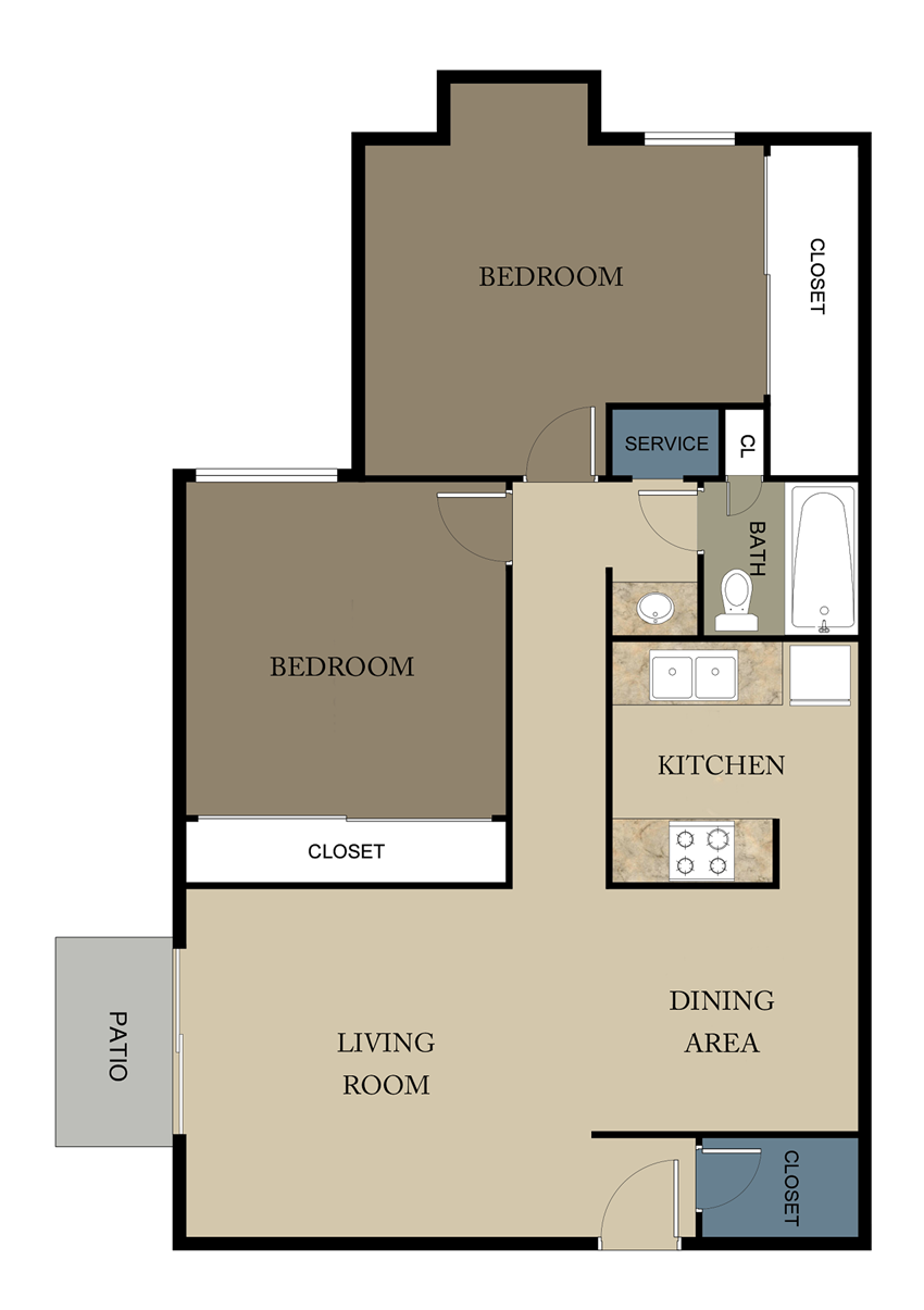 Mimosa Place Apartments Two Bedroom Floor Plan