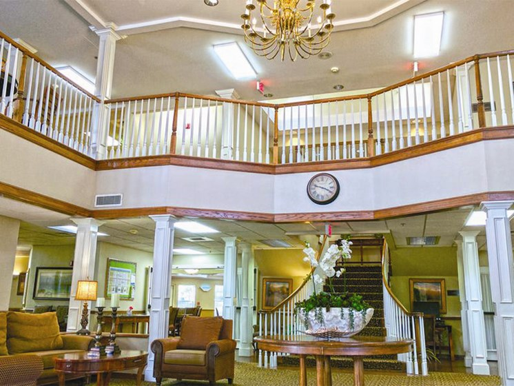 High Ceiling Lounge Area at Lakeview Senior Living, Lincoln City, OR