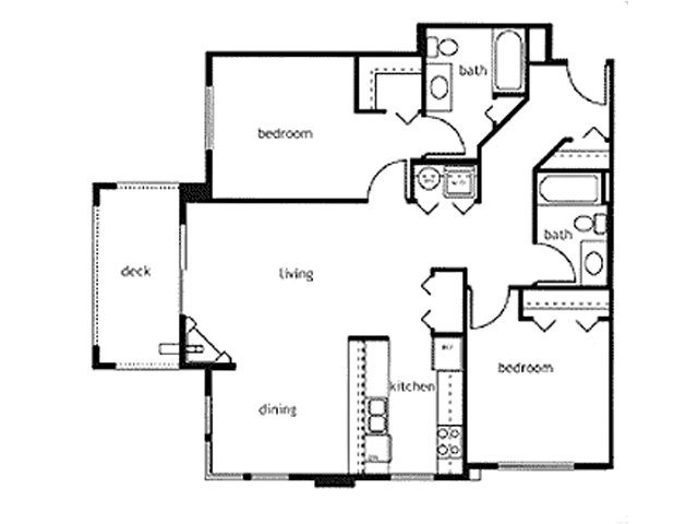 Two Bed Two Bath Floor Plan 3