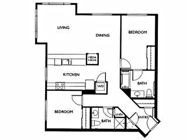 Two Bed Two Bath Floor Plan 2
