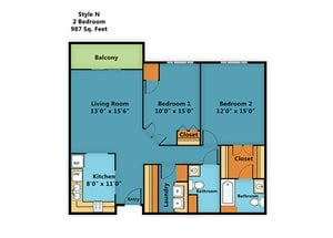 Two bedroom, two bath apartment1
