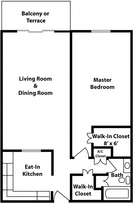 Classic - 1 Bedroom - Chatillon Floor Plan 12