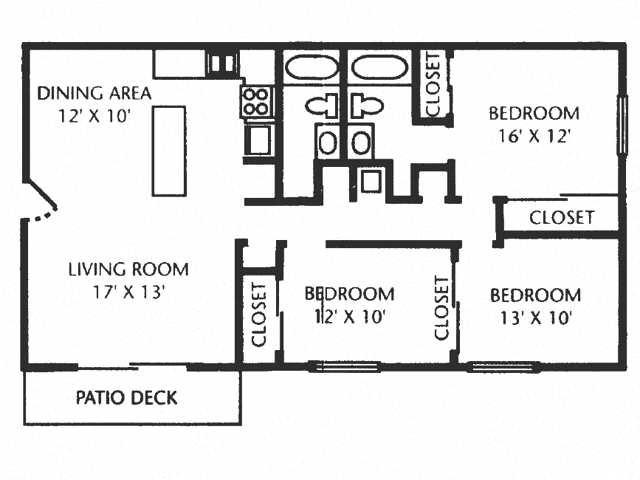 3 Bed 2 Bath A Floor Plan 6