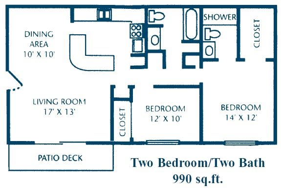 2 Bed 2 Bath A Floor Plan 4