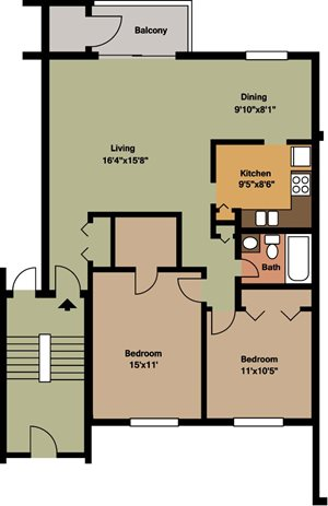 2 Bedroom / 1 Bath - Island & Lakeview
