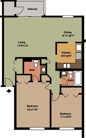 2 Bedroom / 2 Bath - Island & Lakeview