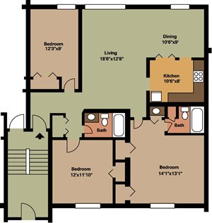 3 Bedroom / 2 Bath - Island & Lakeview