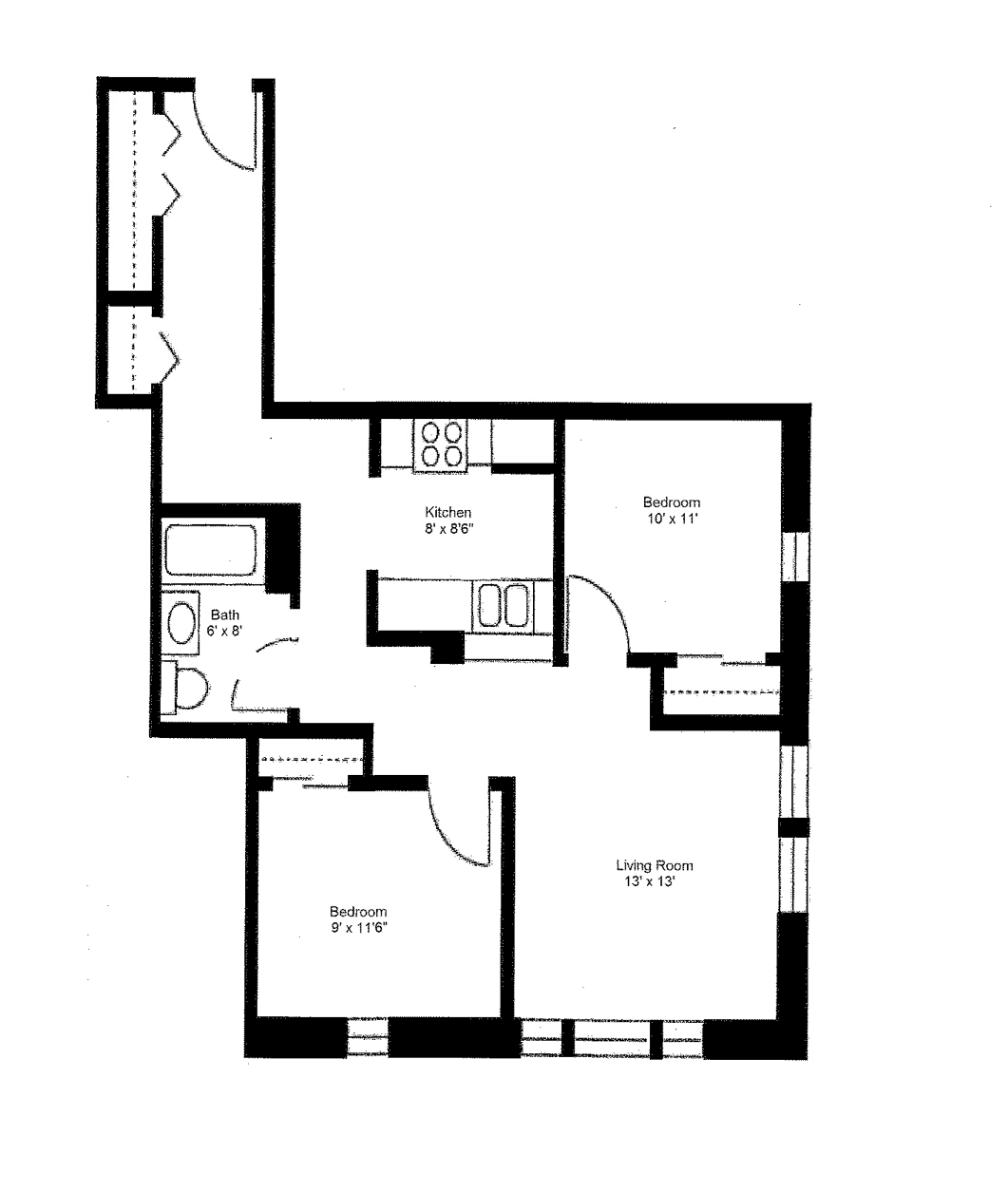 2 Bedroom Large Floor Plan 1