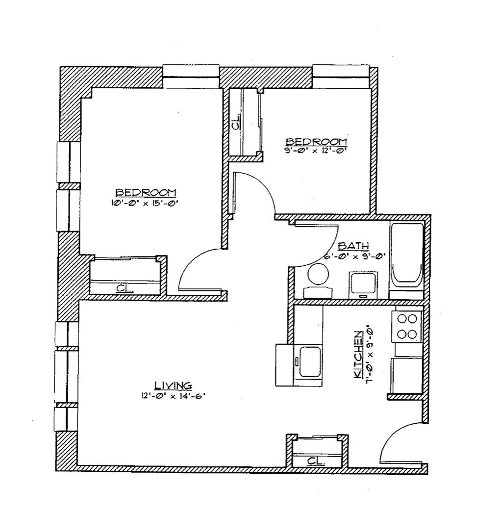 2 Bedroom Small Floor Plan 2