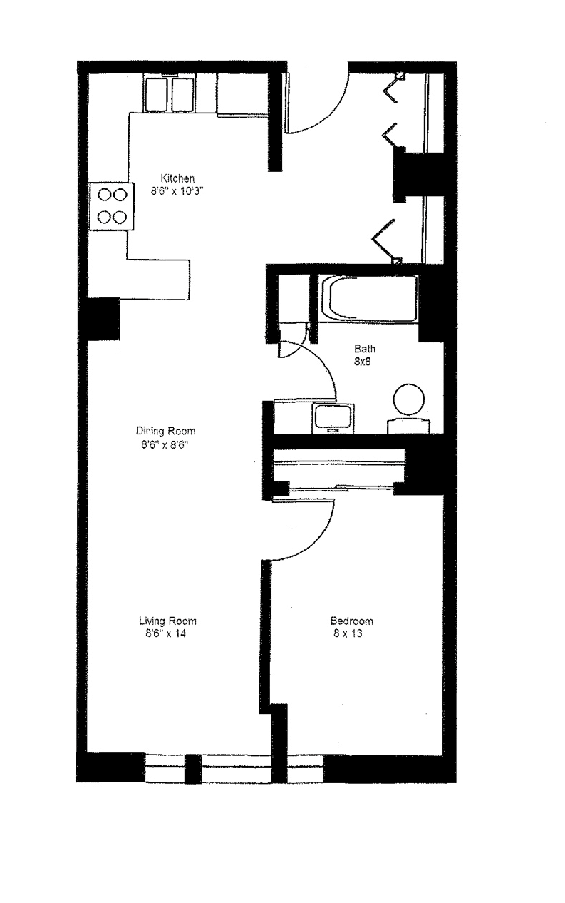 1 Bedroom Large Floor Plan 3