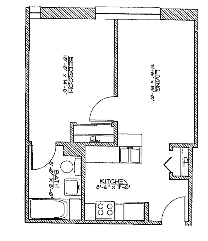 1 Bedroom Medium Floor Plan 5