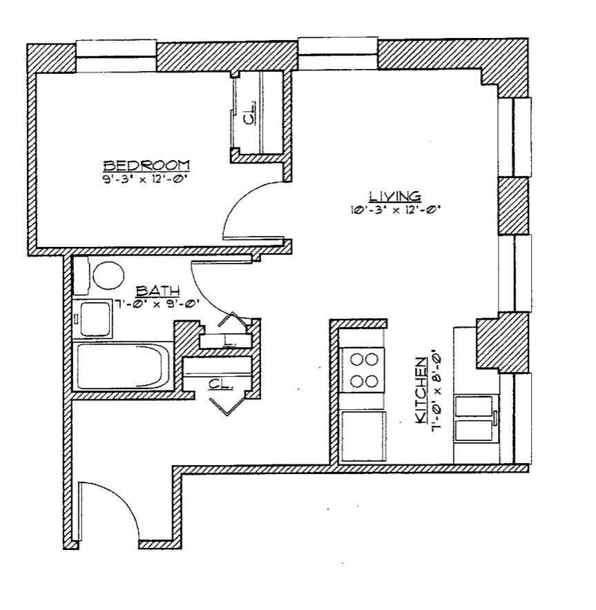 1 Bedroom Small Floor Plan 6