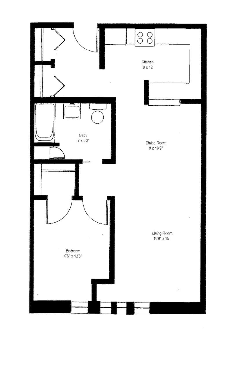 1 Bedroom Handicap Floor Plan 7