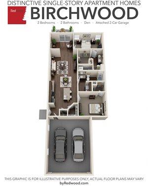 Birchwood- 2 Bed, 2 Bath, Den 2-Car Garage