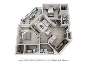 The Flats at Austin Landing Apartments- Two Bedroom Apartment