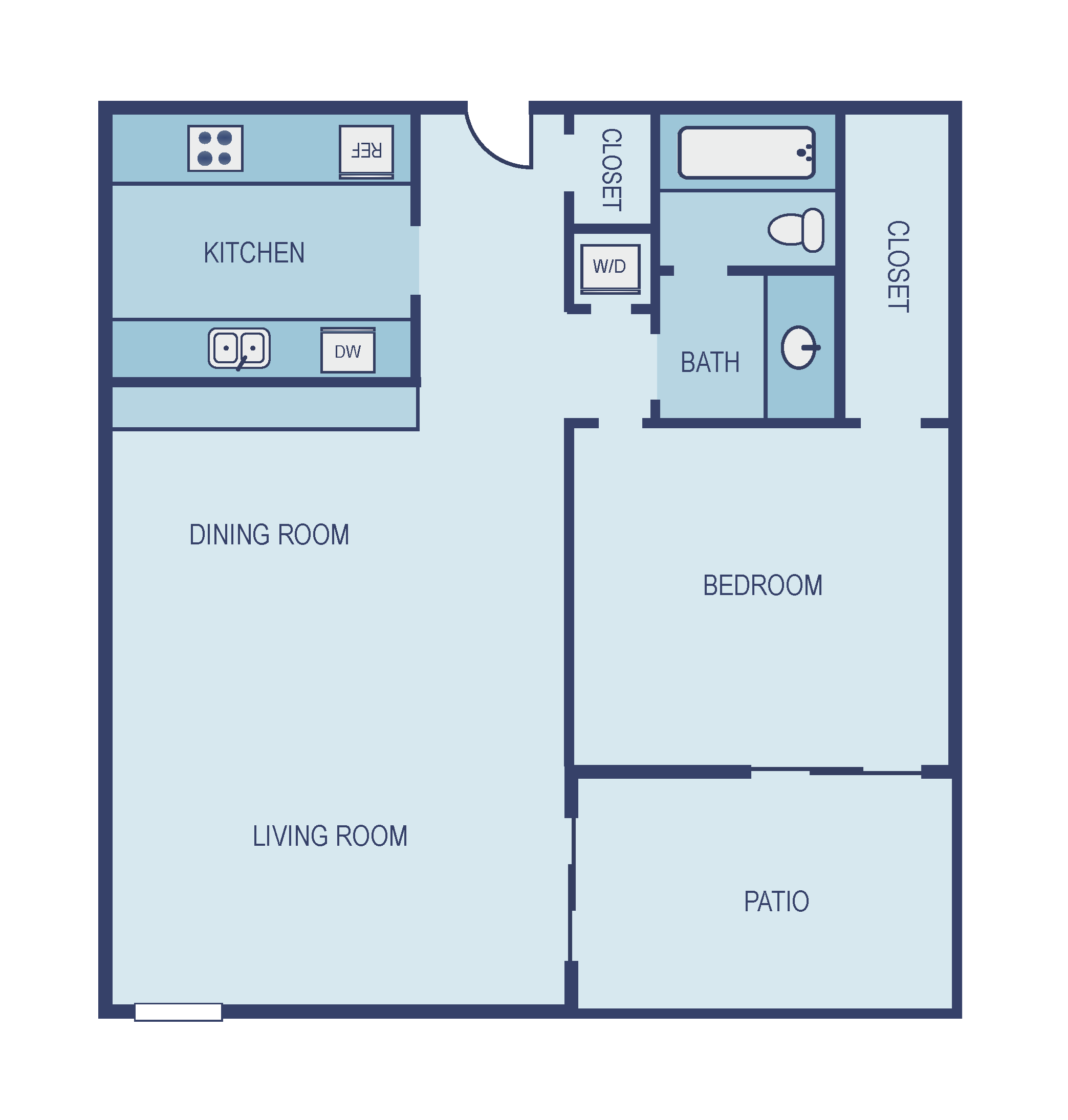 One Bedroom A2 Floor Plan 2