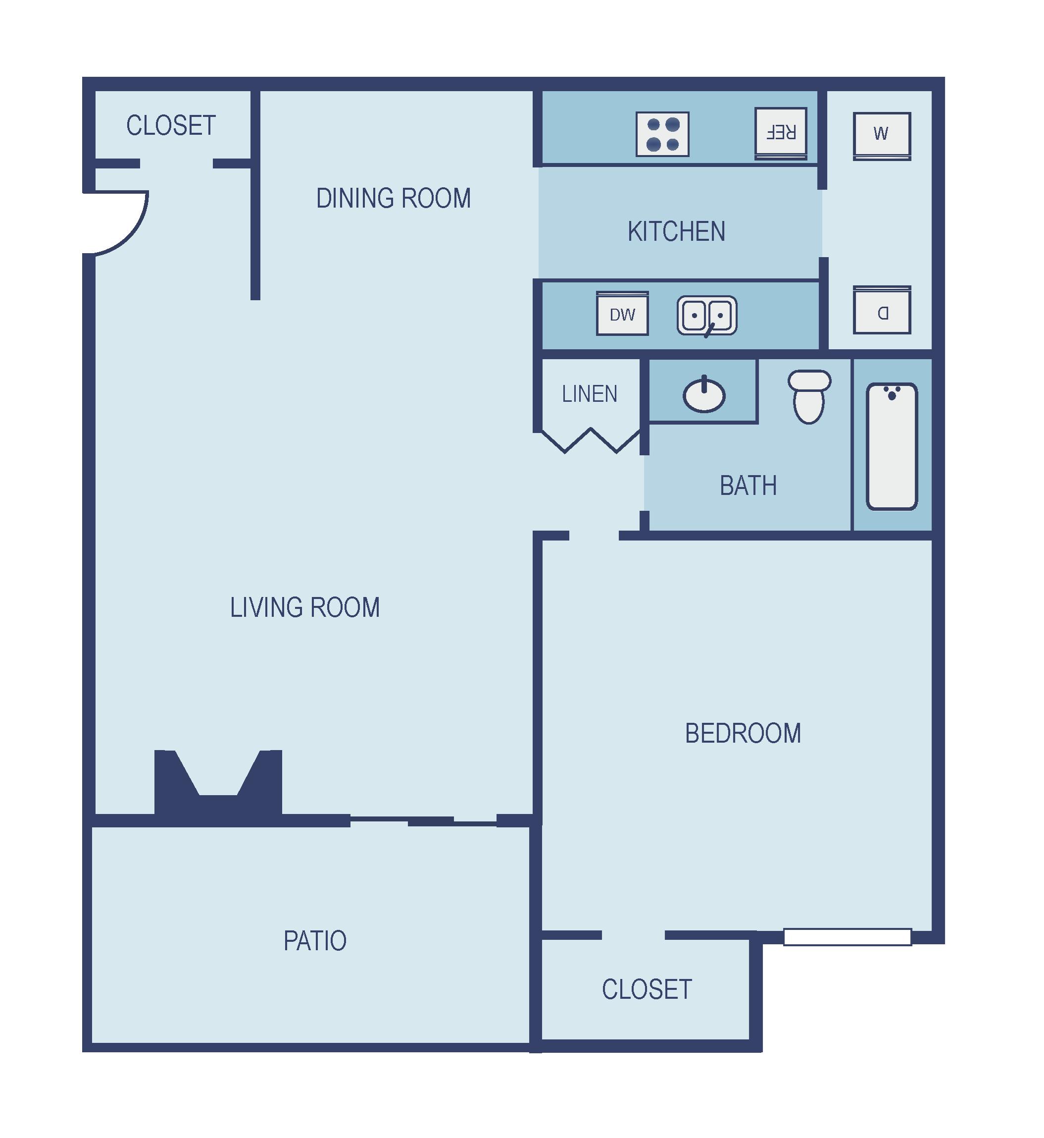 One Bedroom A3 Floor Plan 3