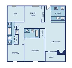 Two Bedroom B8 Den