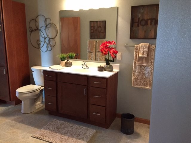 Solid Cultured Marble Bathroom Counter Tops at Paragon Place at Bishops Bay, 5240 Bishops Bay Parkway, Middleton