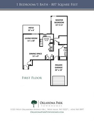 1 Bedroom, 1 Bath Lower Townhome Floorplan at Oklahoma Park Townhomes