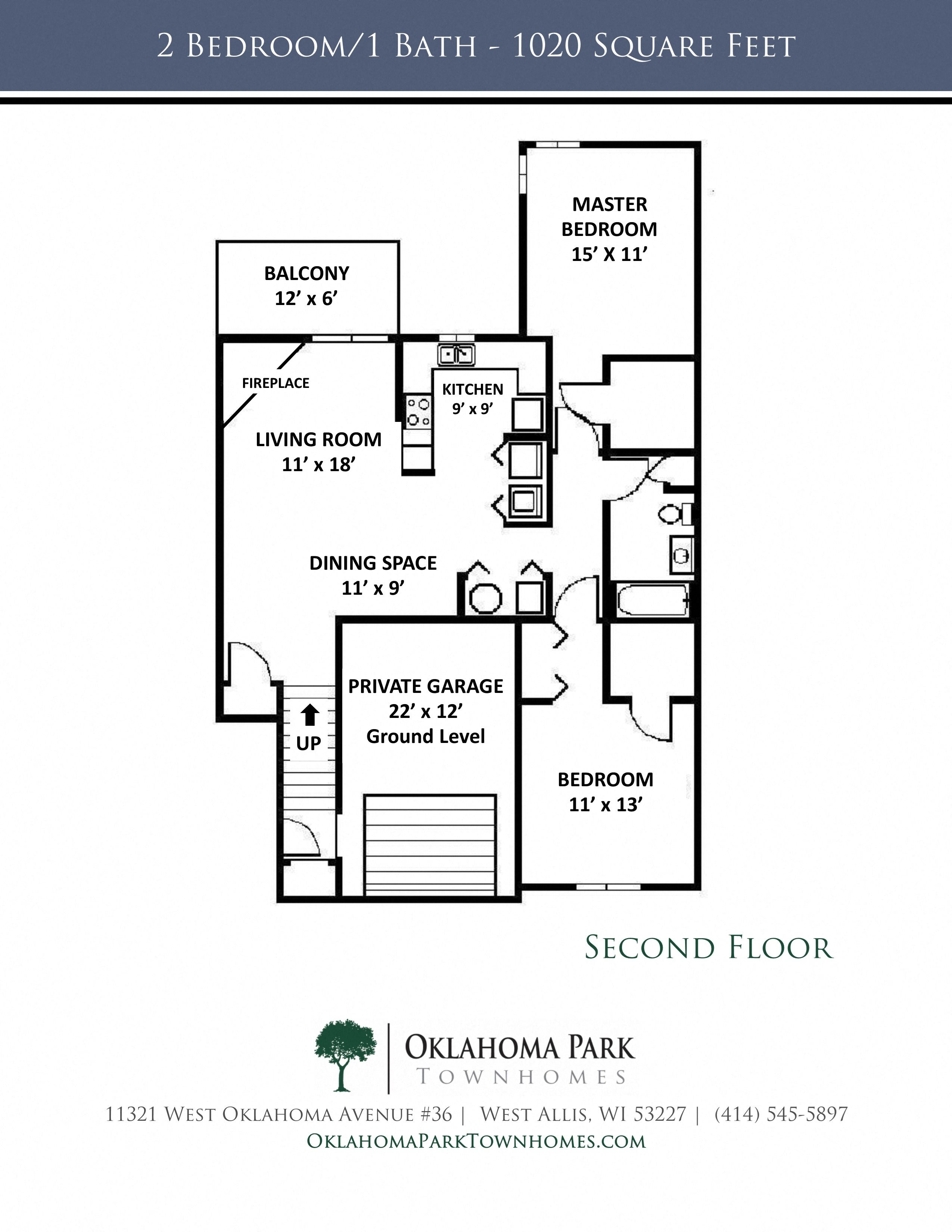 2 Bedroom, 1 Bath Upper Townhome with Fireplace Floorplan at Oklahoma Park Townhomes