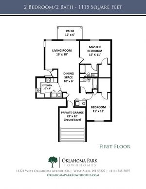 2 Bedroom, 2 Bath Lower Townhome Floorplan at Oklahoma Park Townhomes