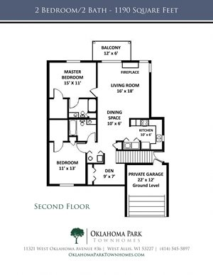 2 Bedroom, 2 Bath Upper Townhome with Fireplace Floorplan at Oklahoma Park Townhomes