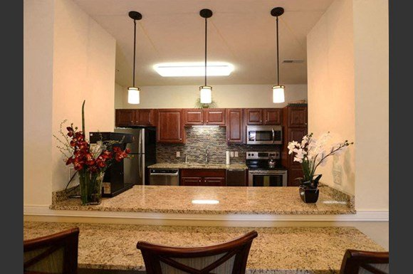 Modern Community Room Kitchen at Highlands at Riverwalk Apartments 55+, Wisconsin 53092
