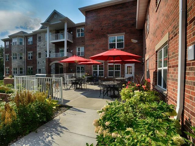 Screened patio/balcony at Highlands at Riverwalk Apartments 55+, Mequon, WI,53092