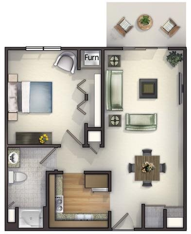 1 Bedroom, 1 Bath Floorplan at Highlands at Riverwalk Apartments 55+