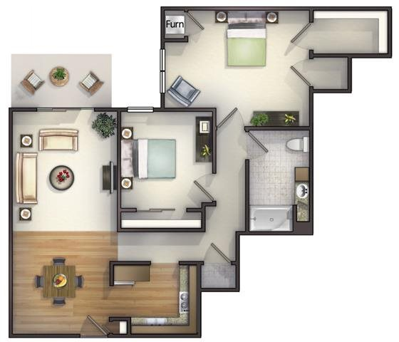 2 Bedroom, 1 Bath Courtyard Floorplan at Highlands at Riverwalk Apartments 55+