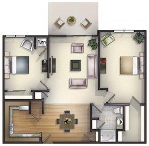 2 Bedroom, 1 Bath  Floorplan at Highlands at Riverwalk Apartments 55+
