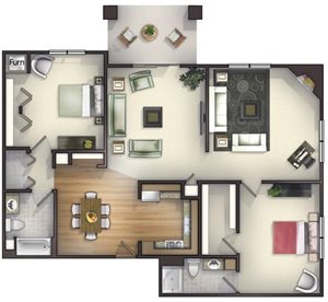 2 Bedroom, 2 Bath with Greatroom and Fireplace  Floorplan at Highlands at Riverwalk Apartments 55+