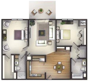 2 Bedroom, 2 Bath Floorplan at Highlands at Riverwalk Apartments 55+