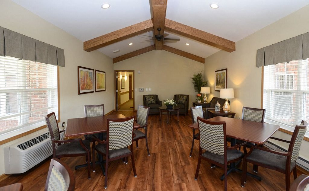 Large Community Room With Board Games at Highlands at Riverwalk Apartments 55+, Mequon, WI,53092
