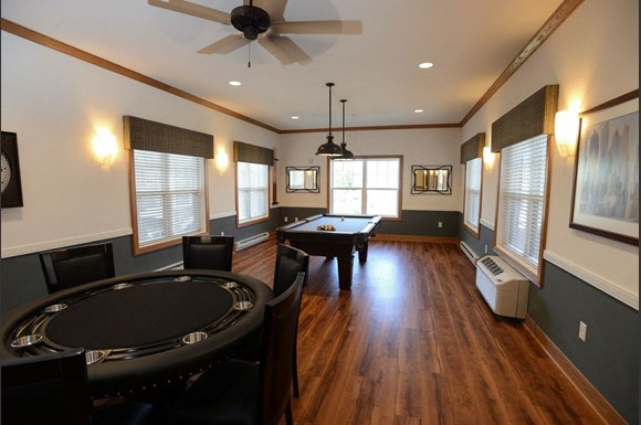 Multi-Purpose Room With Billiards Table at Highlands at Riverwalk Apartments 55+, Mequon, Wisconsin