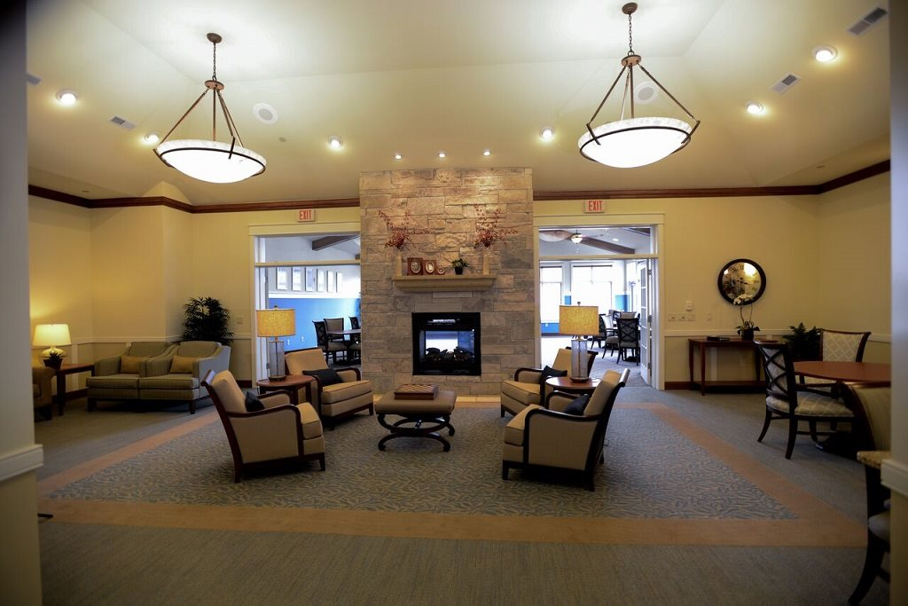 Renovated Community Room at Highlands at Riverwalk Apartments 55+, Wisconsin 53092