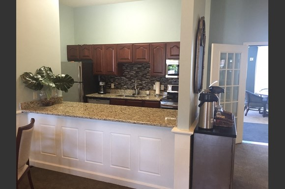 Gourmet Kitchens with Islands, Caesarstone Countertops, and Decorative Backsplash at Nicolet Highlands Apartments 55+, Wisconsin, 54115