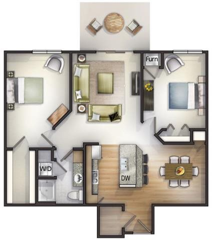 Floor plan at Highlands at River Crossing Apartments , Winneconne, WI 54986